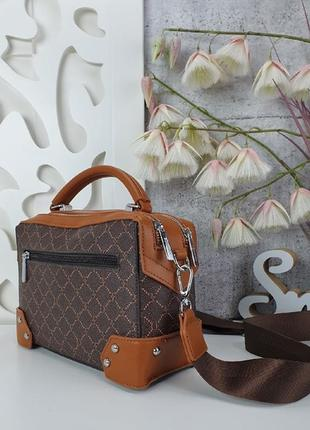 Шикарная сумка с тканевым ремешком, каркасная6 фото