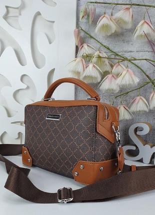 Шикарная сумка с тканевым ремешком, каркасная2 фото