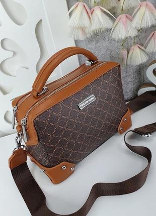 Шикарная сумка с тканевым ремешком, каркасная5 фото