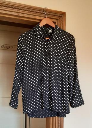 Супер рубашка сорочка блуза в горошек свободного кроя