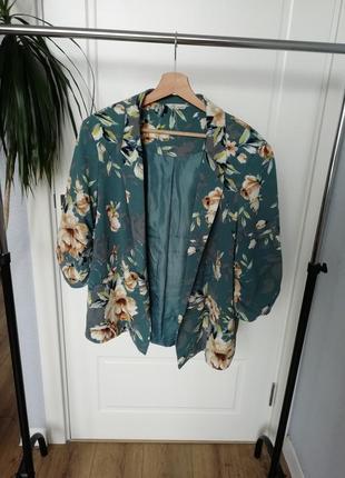 Легкий летний пиджак, жакет флорал принт