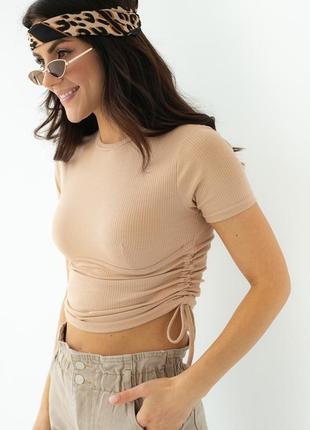 Бежевая футболка с завязками и рубчиком под грудью, арт. 2095