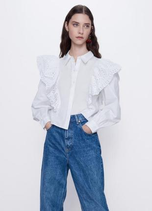 Поплиновая  ажурная рубашка / блуза