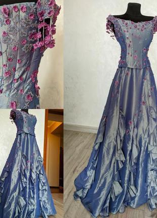 Шикарное винтажное лавандовое бальное платье ручной работы для фотосессии yve london