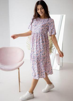 Свободное летнее платье в цветок в ассортименте, р. s, m, l