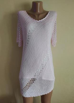 Туника кофта кофточка футболка розовая красивая жемчужная нежная вязаная