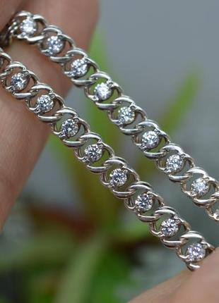 Срібний #браслет з каменями #бісмарк #гарібальді #бисмарк на руку 17см #925