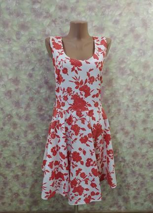 Платье сарафан миди мом красивый белый красный коралловый в цветах