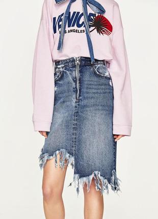 Модная юбка миди джинсовая zara 1+1=3