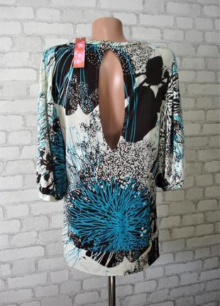 """Хлопковая блуза с объемным рукавом и открытой спинкой """"monsoon """" 46- 48 р"""