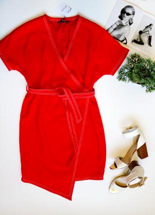 Новое красное миди платье с запахом и ассиметричным низом большого размера next 1+1=3