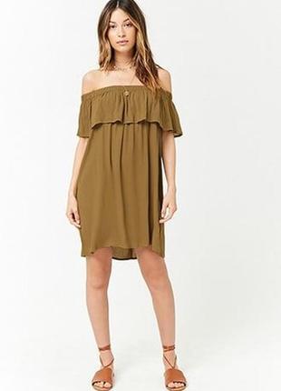 Платье с воланами горчичного цвета h&m / mango / zara