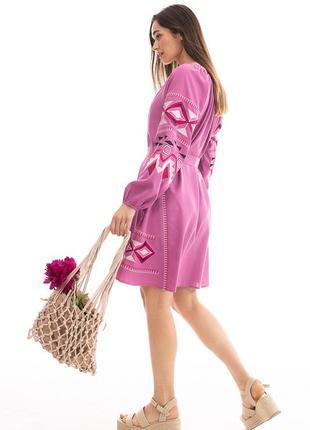 Розовое платье , вишиванка, вышиванка 46 , вышитое платье , платье с вышивкой