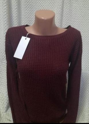 Вязаний светр бордо1 фото