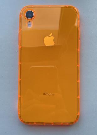 Неоновый силиконовый чехол на айфон xr, iphone xr. оранжевий чохол.