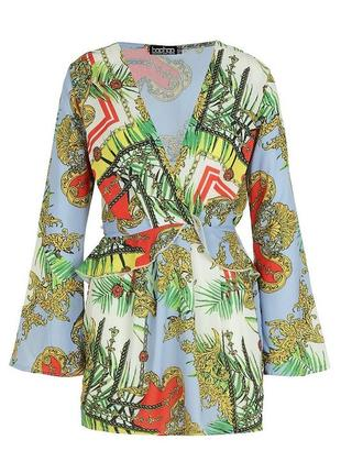💣легкое коктейльное платье boohoo с v-вырезом и широкими рукавами