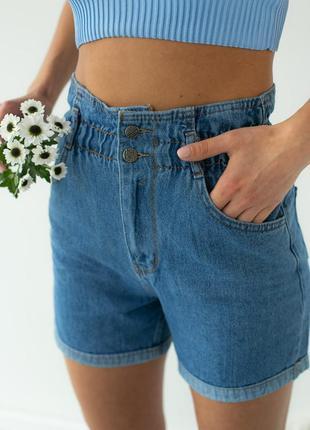 Шорти джинсові з гумкою на талії