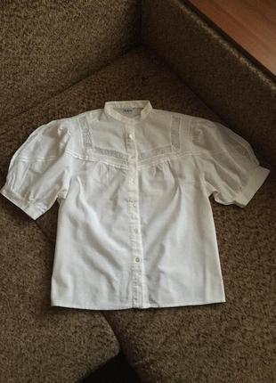 Хлопковая блуза с объёмными рукавами
