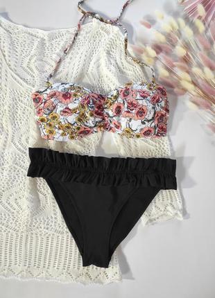 Шикарный купальник h&m, в цветочный принт, бандо, м 38 euro