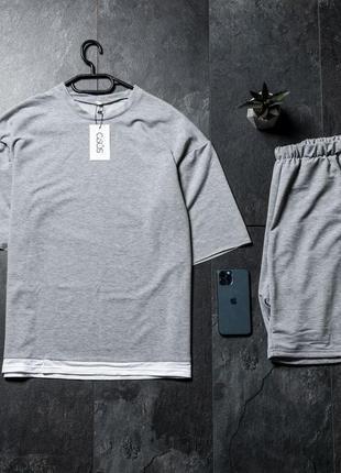 Оверсайз  косплект футболка с белой окантовкой + шорты asos 2021