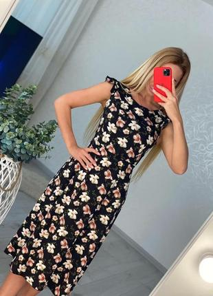 Женские платья миди цветочный принт
