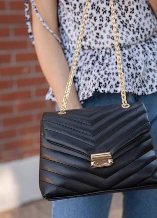 Чёрная базовая женская сумка кожзам кросс боди