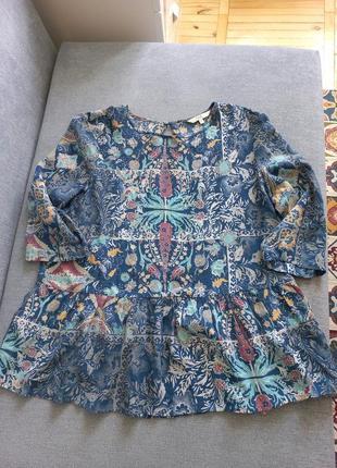 Блуза вискоза туника бохо в цветы