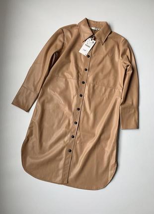 Удлиненная рубашка/куртка из искусственной кожи zara