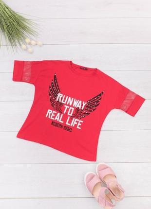 Стильная красная футболка с рисунком надписью оверсайз топ сетка