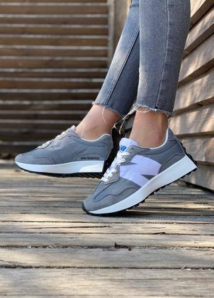 Женские кроссовки new balance 327 grey khaki