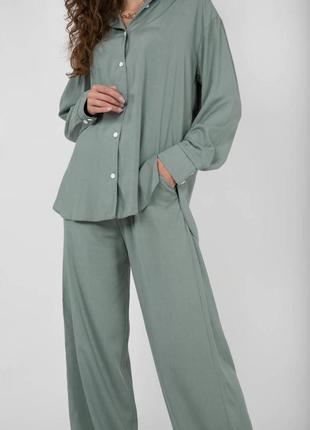 Комплект  рубашка и брюки фисташковый из штапеля летний легкий 2021