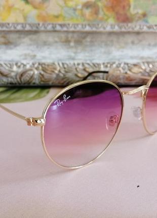 Очень красивые округлые солнцезащитные женские очки раунды в мелаллической оправе