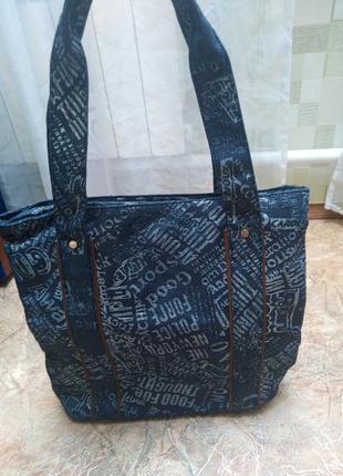 Новая джинсовая сумка, 2 больших отделения, крепкие ручки, шоппер