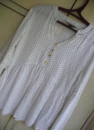 Базовая блуза в мелкий горох блузка объемным рукавом сорочка удлиненная с оборками воланом