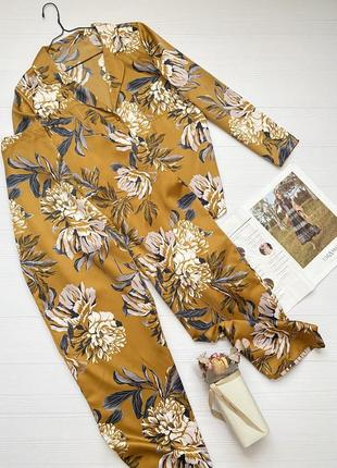 Шёлковая пижама домашний костюм в цветочный принт рубашка + брюки