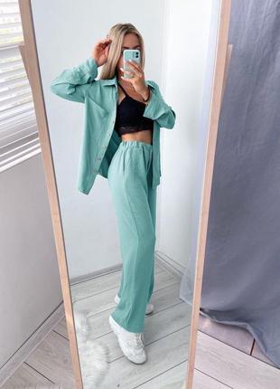 Лёгкий летний костюм  рубашка и широкие штаны2 фото