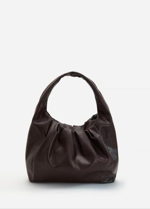 Большая вместительная сумка хобо reserved коричневая сумочка новая