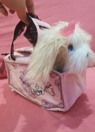 Мягкая игрушка интерактивная собачка в сумочке-переноске