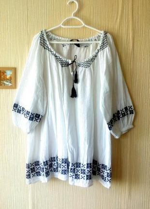 Вышиванка блуза большой размер жатка