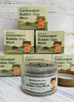 Кислородная, пузырьковая маска bioaqua carbonated bubble clay mask , пенная маска ( little black pig bubble)