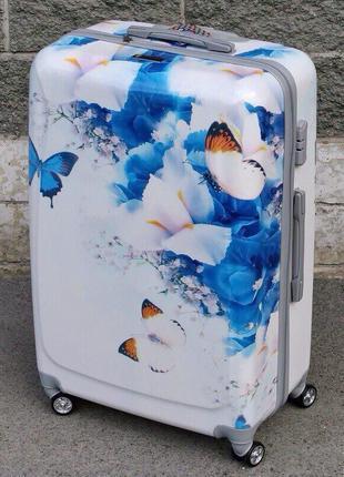 Самовывоз киев! чемодан поликарбонат бабочка валіза дорожная сумка