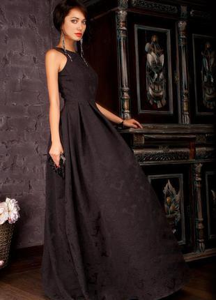 Вечернее пышное черное платье в пол
