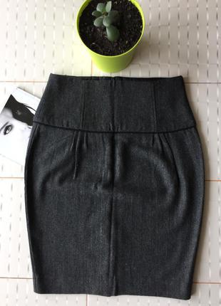 Тёплая шерстяная юбка-футляр миди