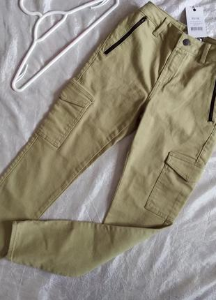 Распродажа джинсы штаны карго хаки вычокая посадка