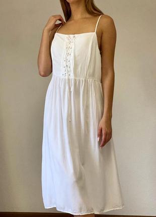 Классное белое платье миди new look