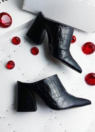 Find. оригинал кожаные черные мюли туфли на каблуке