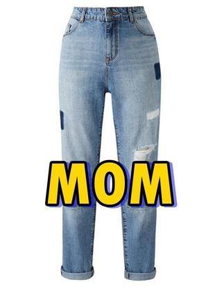 Тренд: джинси мам mom jeans печворк з високою посадкою