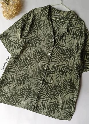 🌿шовкова блуза хакі в тропічний принт, шелковая винтажная принтованая оверсайз блуза рубашка