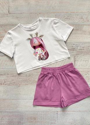 Летний костюм шорты и футболка для девочки от 128-152см