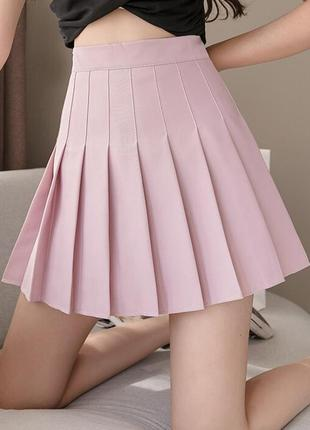 Юбка в складку нежно розовая пудровая